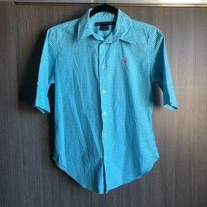 Blue checkered Ralph Lauren top